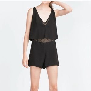 Zara romper with sheer panel black size M